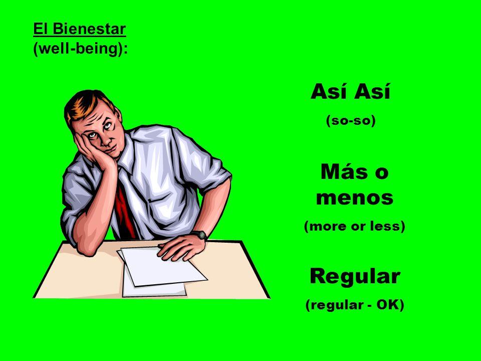 Así Así Más o menos Regular El Bienestar (well-being): (so-so)