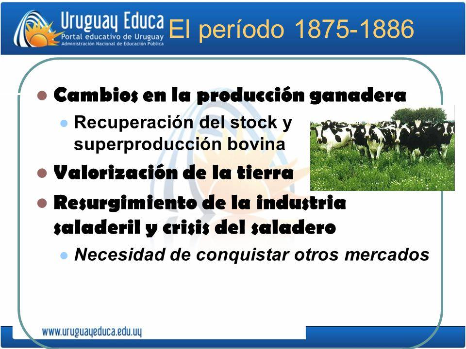 El período 1875-1886 Cambios en la producción ganadera