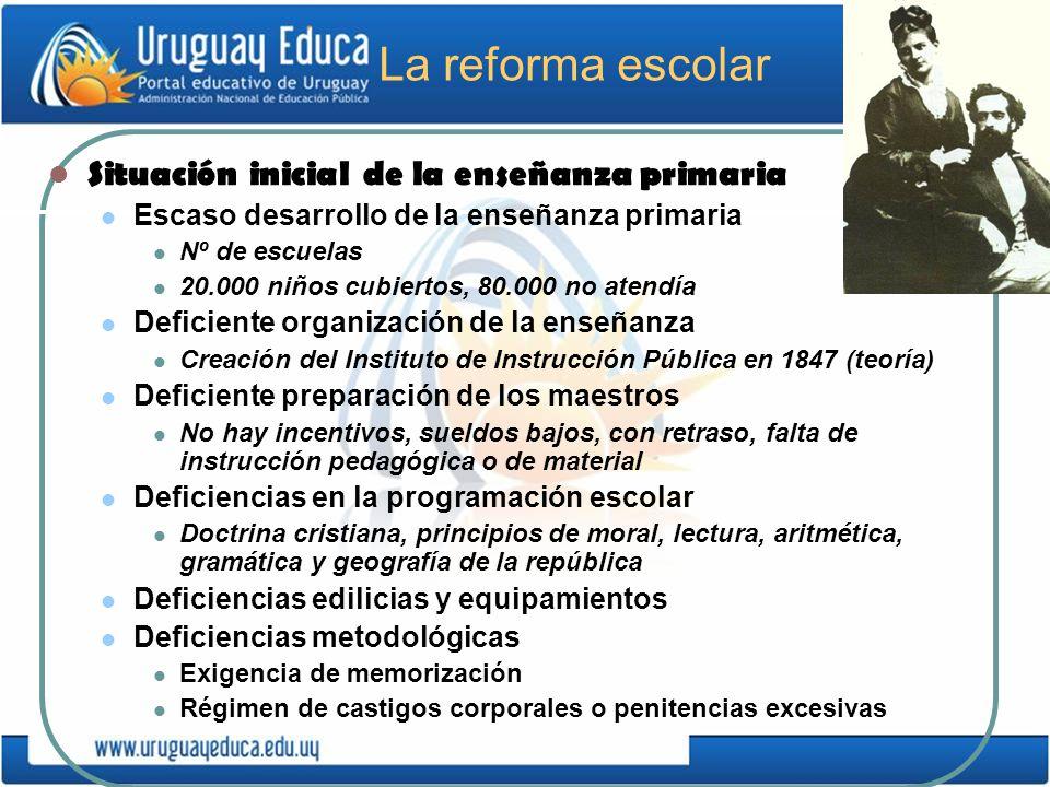 La reforma escolar Situación inicial de la enseñanza primaria