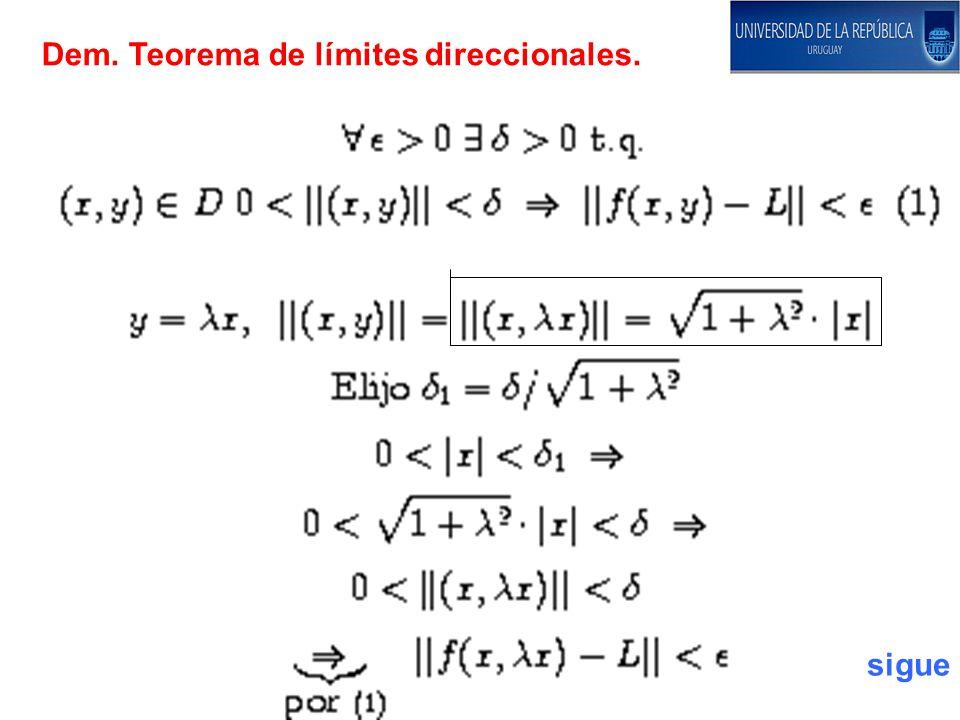 Dem. Teorema de límites direccionales.