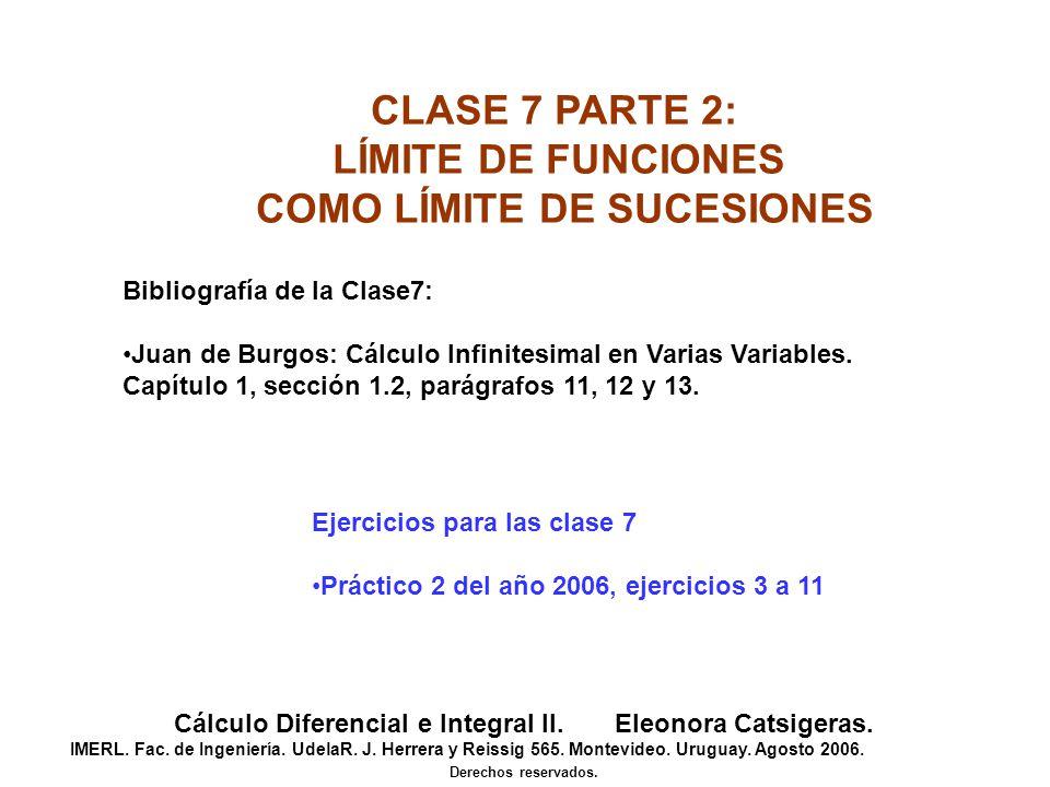 CLASE 7 PARTE 2: LÍMITE DE FUNCIONES COMO LÍMITE DE SUCESIONES