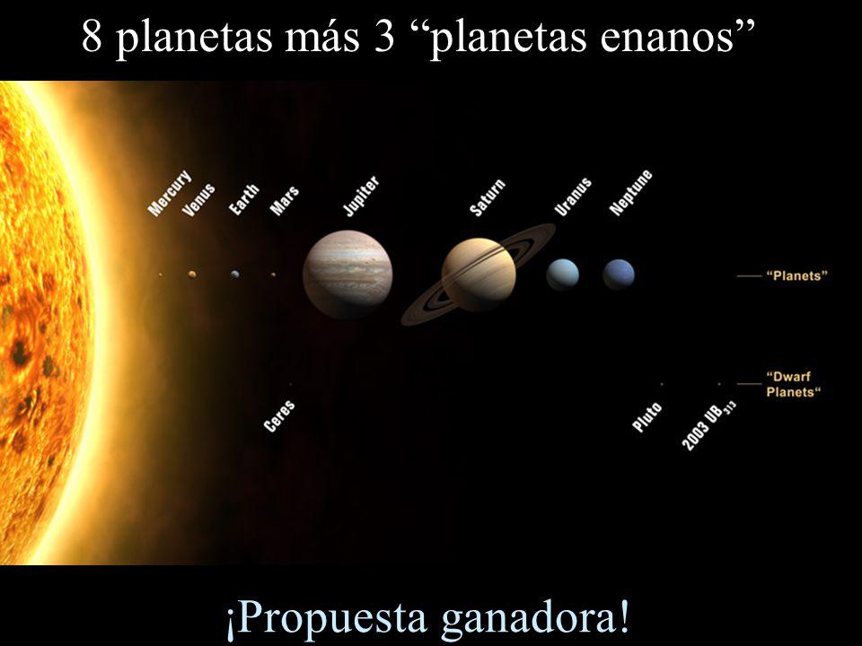 8 planetas más 3 planetas enanos