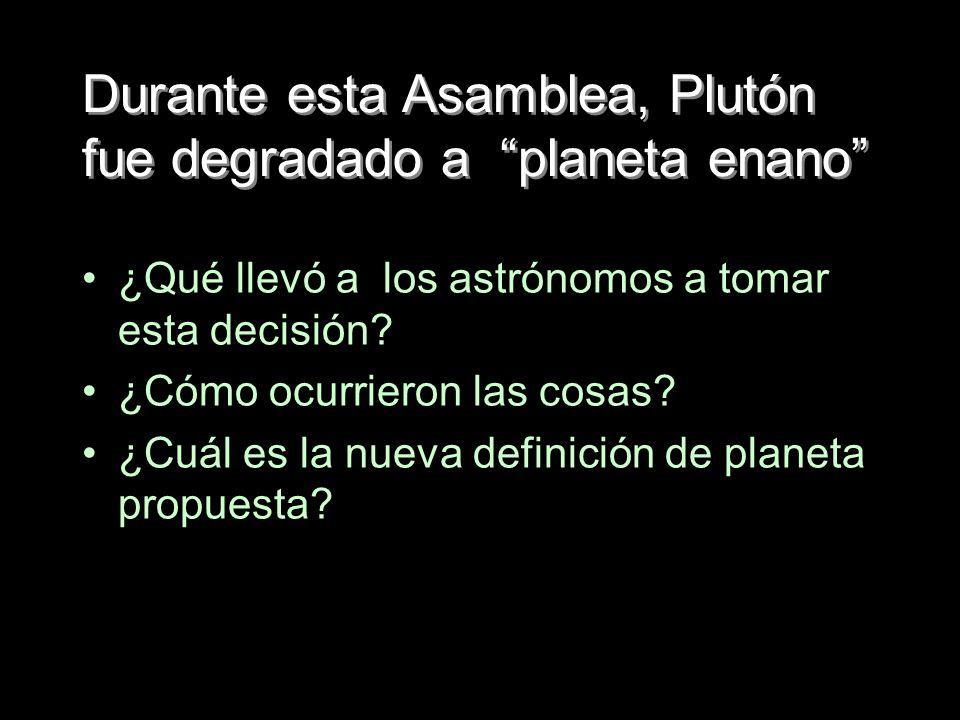 Durante esta Asamblea, Plutón fue degradado a planeta enano
