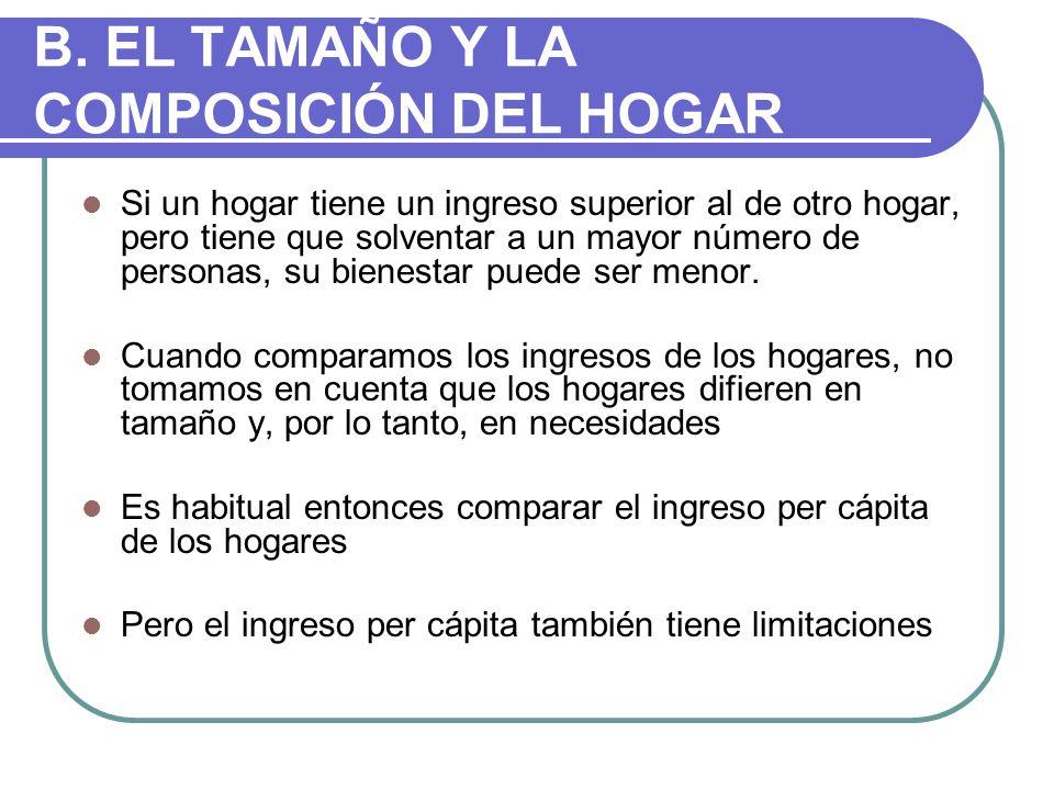 B. EL TAMAÑO Y LA COMPOSICIÓN DEL HOGAR
