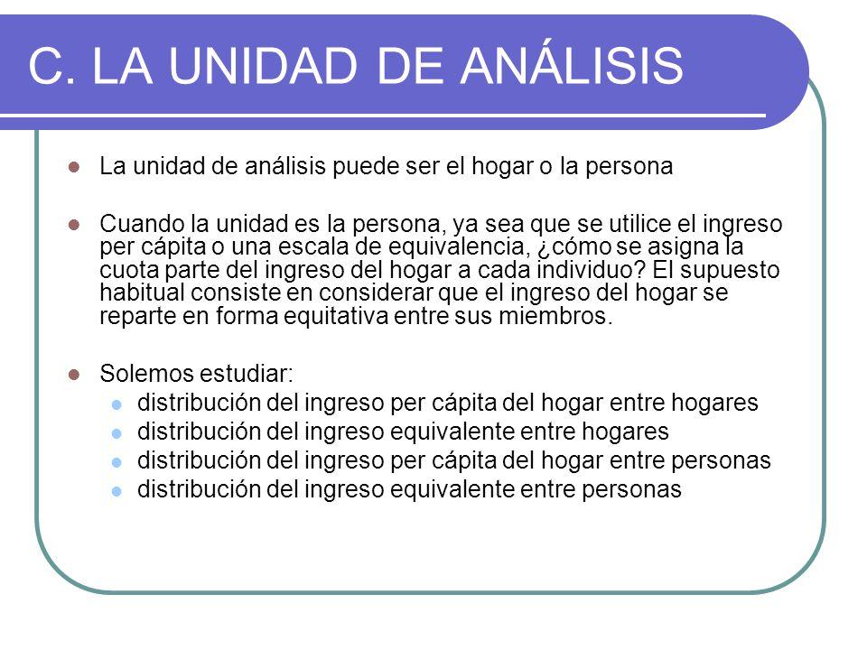 C. LA UNIDAD DE ANÁLISIS La unidad de análisis puede ser el hogar o la persona.