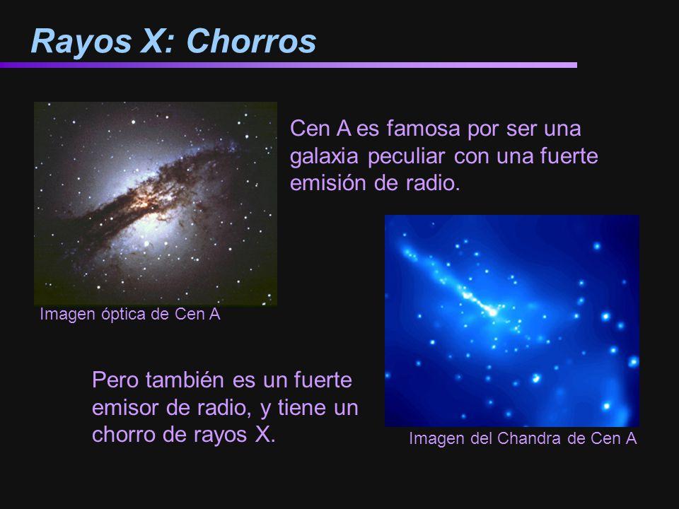 Rayos X: Chorros Cen A es famosa por ser una galaxia peculiar con una fuerte emisión de radio. Imagen del Chandra de Cen A.