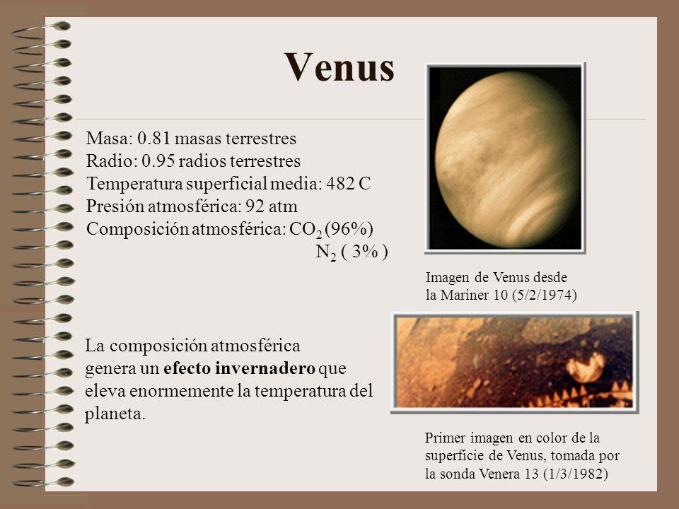 Venus Masa: 0.81 masas terrestres Radio: 0.95 radios terrestres