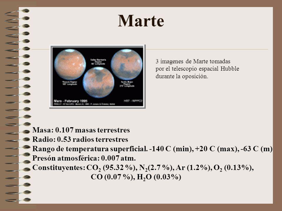Marte Masa: 0.107 masas terrestres Radio: 0.53 radios terrestres