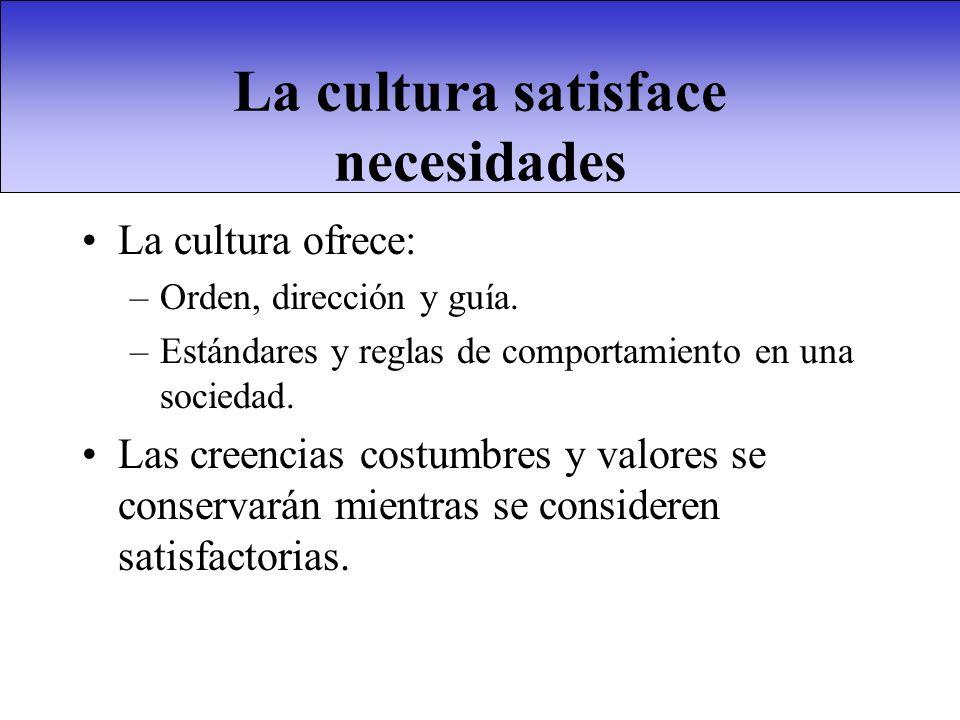 La cultura satisface necesidades