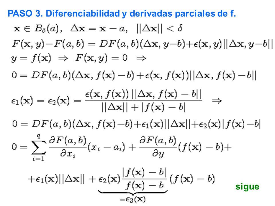 PASO 3. Diferenciabilidad y derivadas parciales de f.