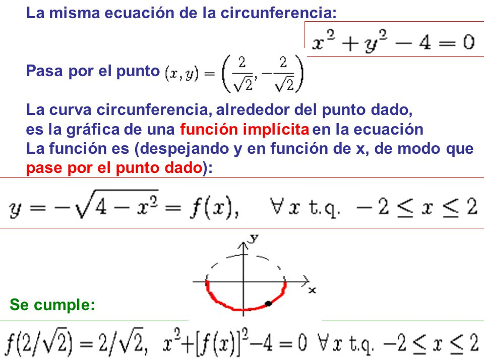 La misma ecuación de la circunferencia: