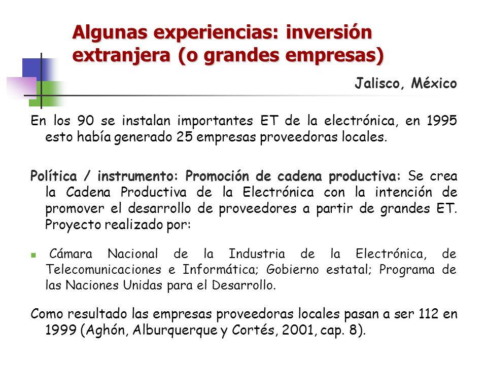 Algunas experiencias: inversión extranjera (o grandes empresas)