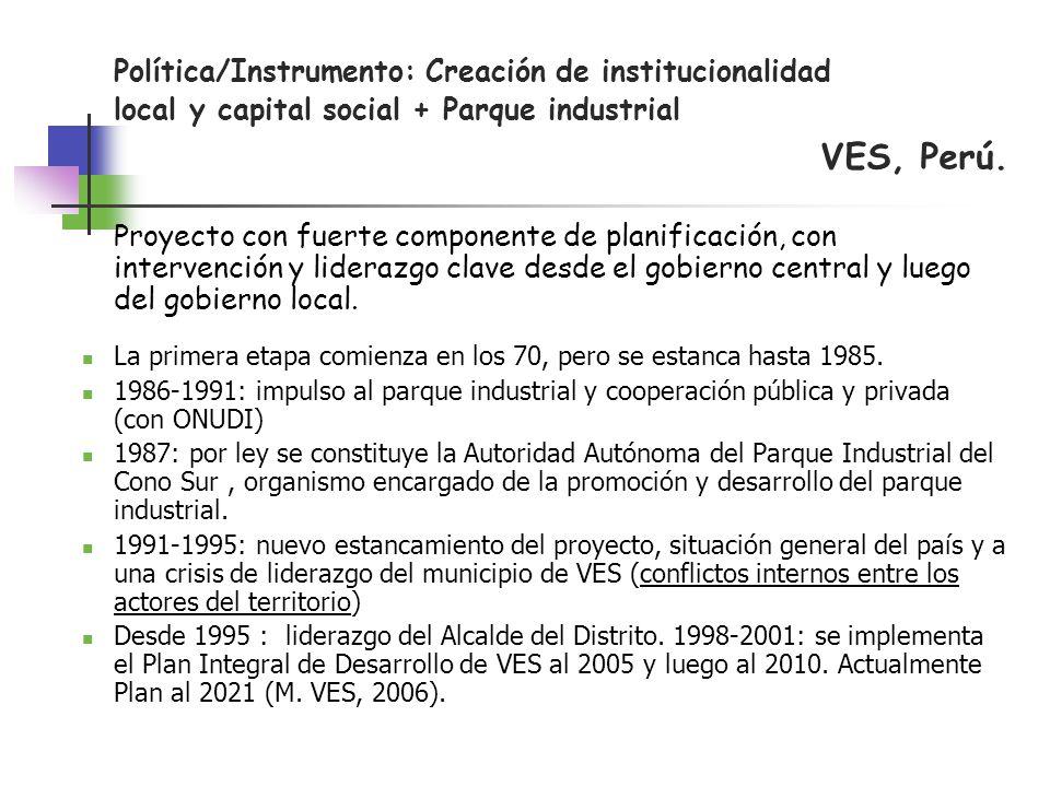 VES, Perú. Política/Instrumento: Creación de institucionalidad