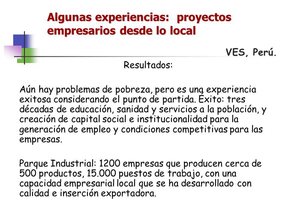 Algunas experiencias: proyectos empresarios desde lo local