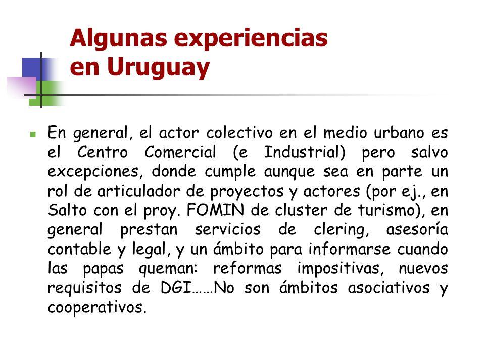 Algunas experiencias en Uruguay