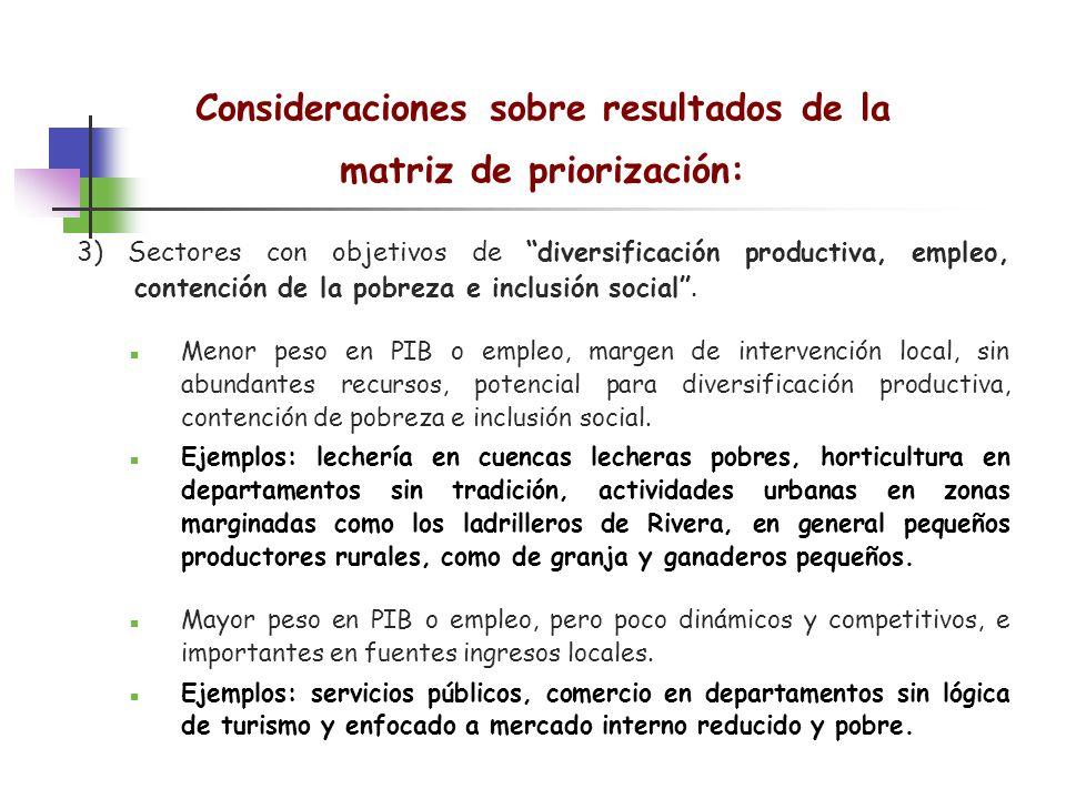 Consideraciones sobre resultados de la matriz de priorización: