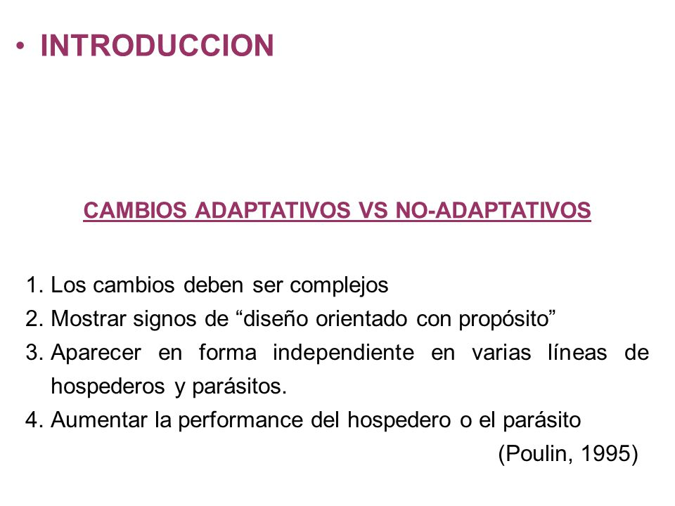 CAMBIOS ADAPTATIVOS VS NO-ADAPTATIVOS