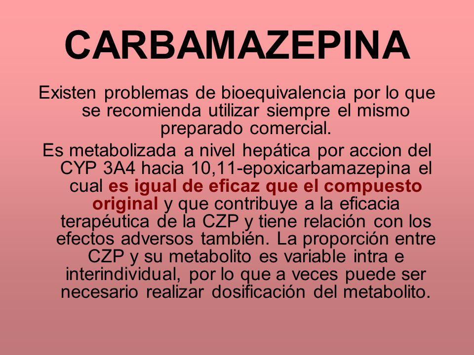 CARBAMAZEPINA Existen problemas de bioequivalencia por lo que se recomienda utilizar siempre el mismo preparado comercial.