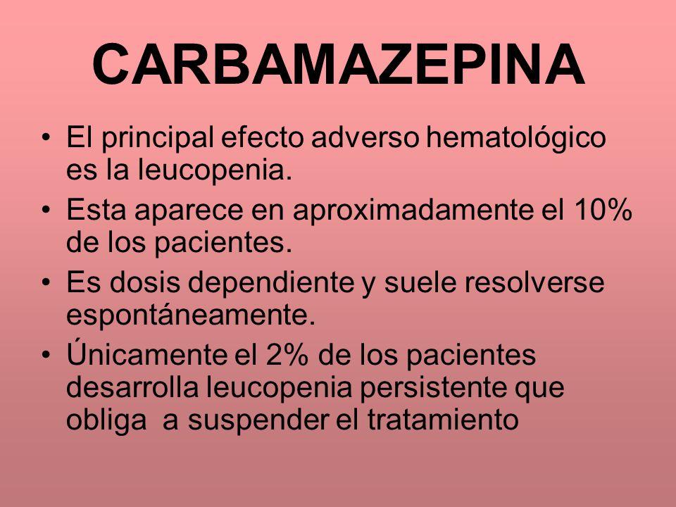 CARBAMAZEPINA El principal efecto adverso hematológico es la leucopenia. Esta aparece en aproximadamente el 10% de los pacientes.