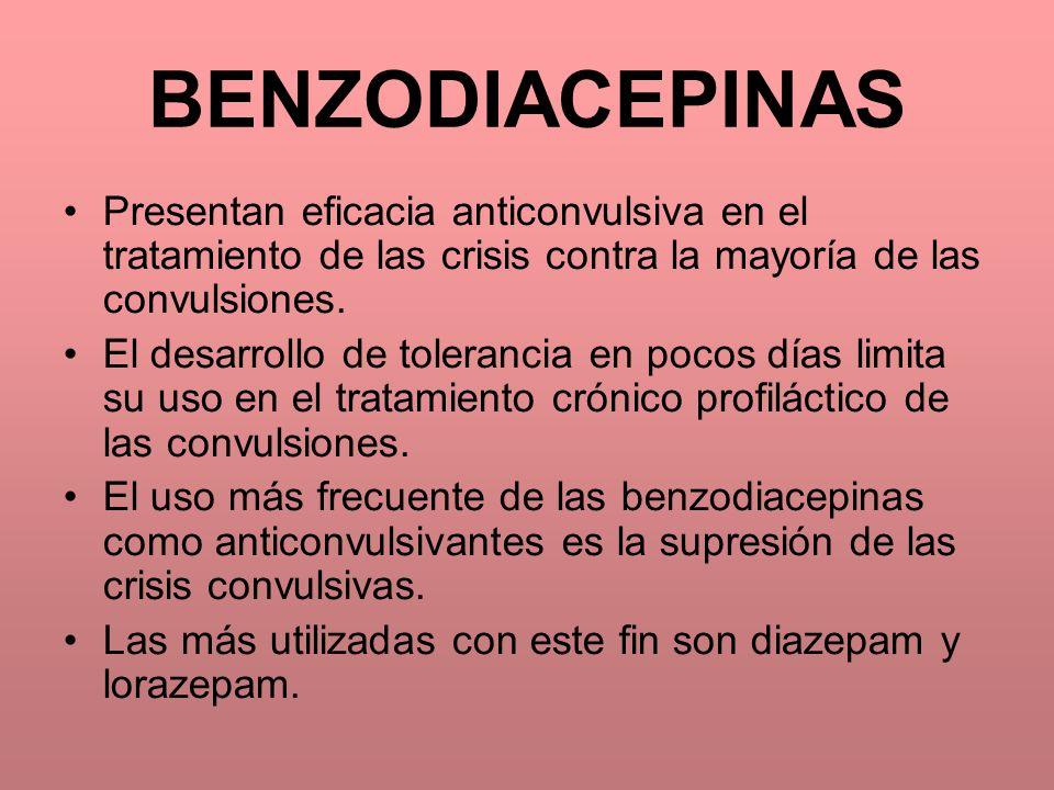 BENZODIACEPINAS Presentan eficacia anticonvulsiva en el tratamiento de las crisis contra la mayoría de las convulsiones.