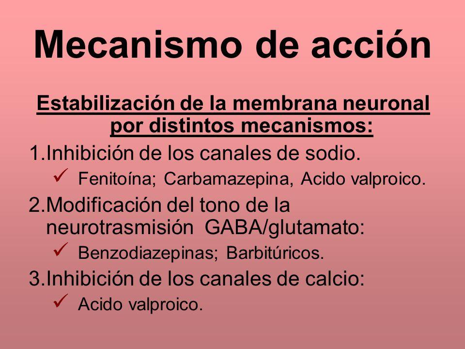Estabilización de la membrana neuronal por distintos mecanismos: