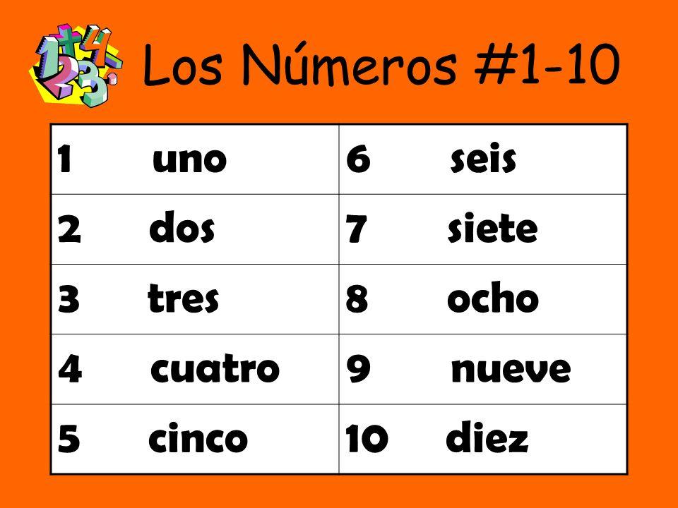 Los Números #1-10 1 uno 6 seis 2 dos 7 siete 3 tres 8 ocho 4 cuatro