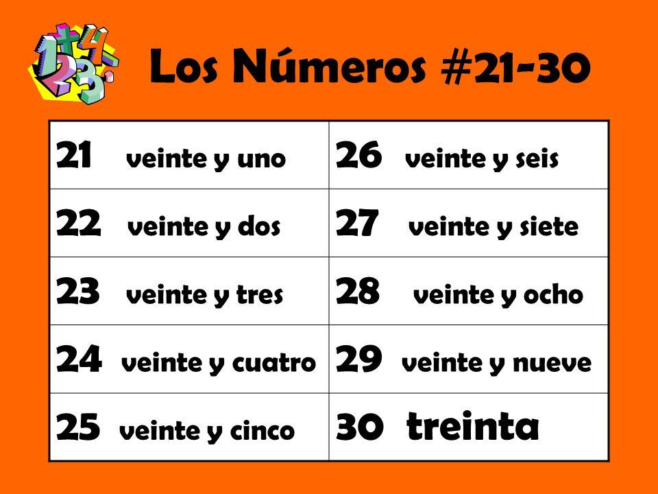 Los Números #21-30 21 veinte y uno 26 veinte y seis 22 veinte y dos