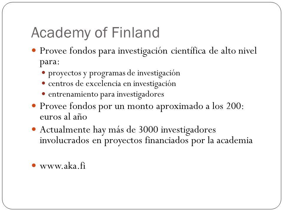 Academy of Finland Provee fondos para investigación científica de alto nivel para: proyectos y programas de investigación.