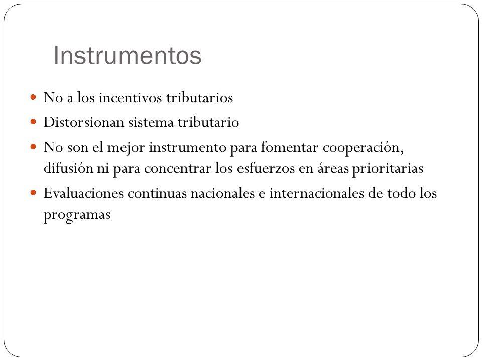 Instrumentos No a los incentivos tributarios