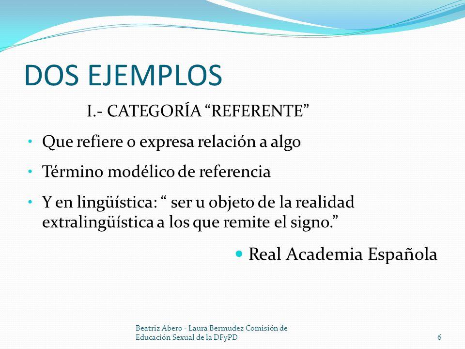 DOS EJEMPLOS Real Academia Española I.- CATEGORÍA REFERENTE