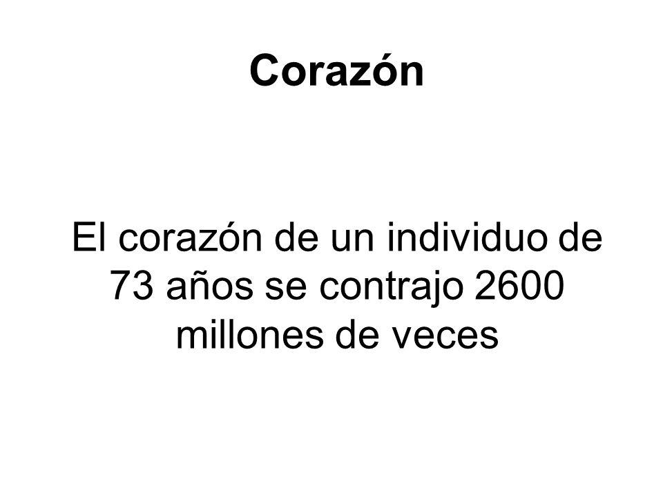 Corazón El corazón de un individuo de 73 años se contrajo 2600 millones de veces