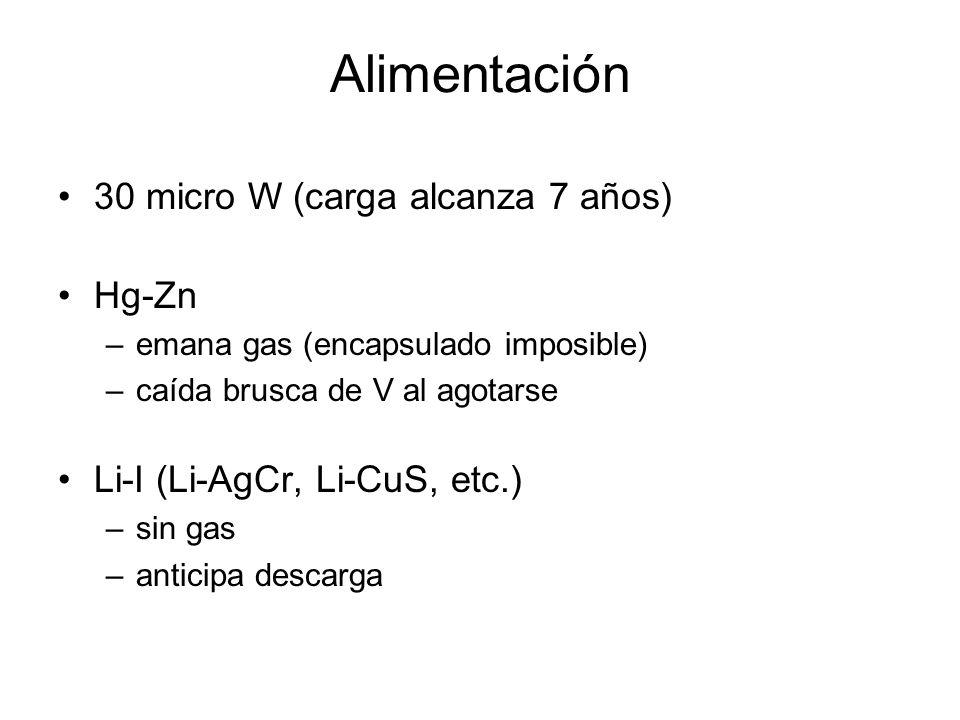 Alimentación 30 micro W (carga alcanza 7 años) Hg-Zn