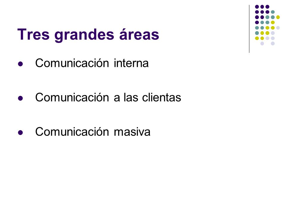 Tres grandes áreas Comunicación interna Comunicación a las clientas