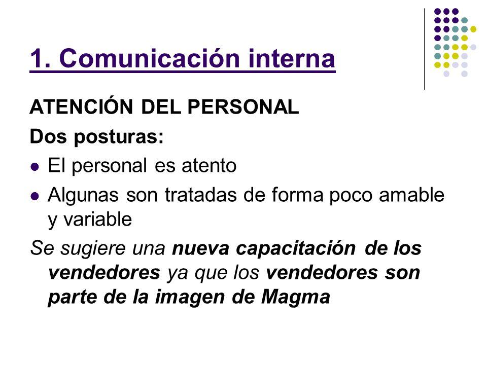 1. Comunicación interna ATENCIÓN DEL PERSONAL Dos posturas: