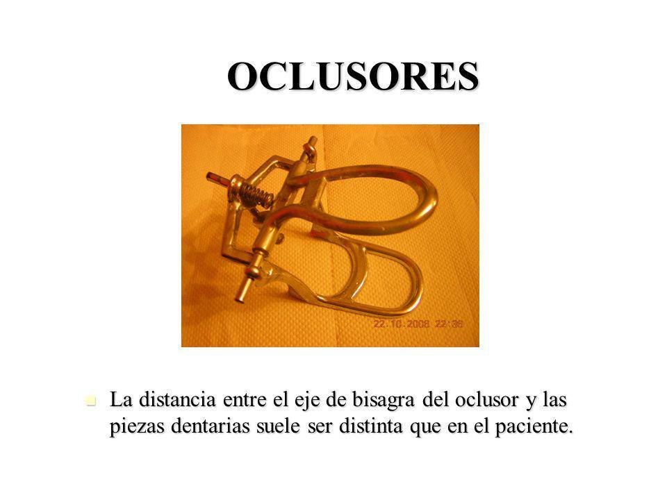 OCLUSORES La distancia entre el eje de bisagra del oclusor y las piezas dentarias suele ser distinta que en el paciente.