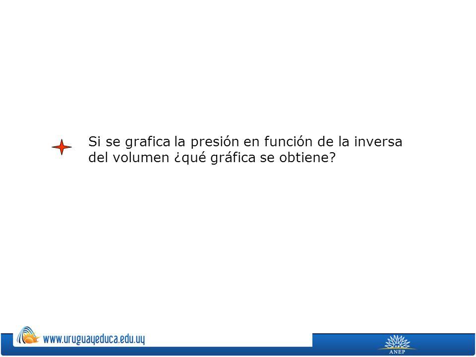 Si se grafica la presión en función de la inversa del volumen ¿qué gráfica se obtiene