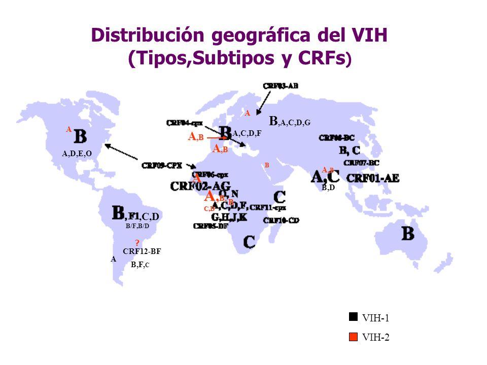 Distribución geográfica del VIH (Tipos,Subtipos y CRFs)
