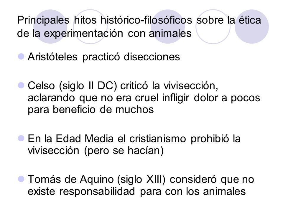Principales hitos histórico-filosóficos sobre la ética de la experimentación con animales
