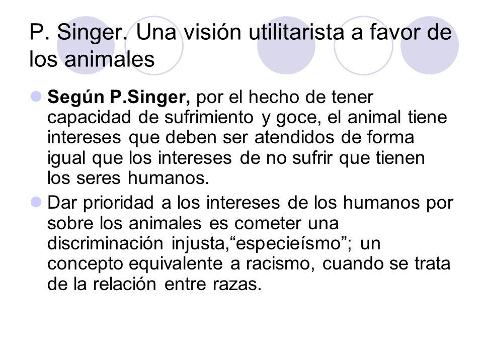 P. Singer. Una visión utilitarista a favor de los animales