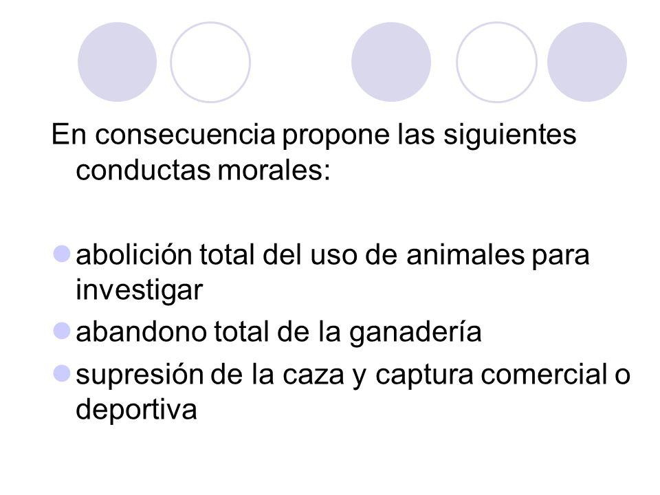 En consecuencia propone las siguientes conductas morales: