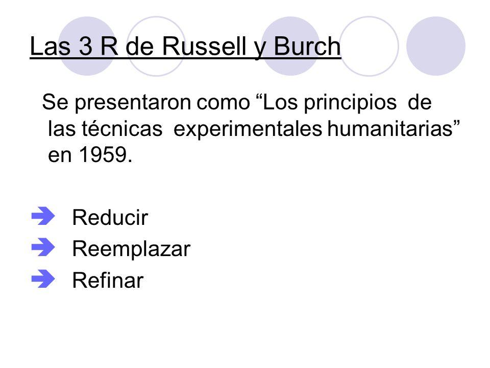 Las 3 R de Russell y Burch Se presentaron como Los principios de las técnicas experimentales humanitarias en 1959.