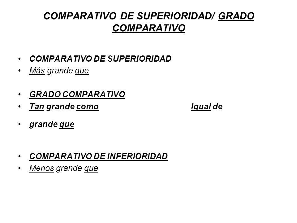 COMPARATIVO DE SUPERIORIDAD/ GRADO COMPARATIVO