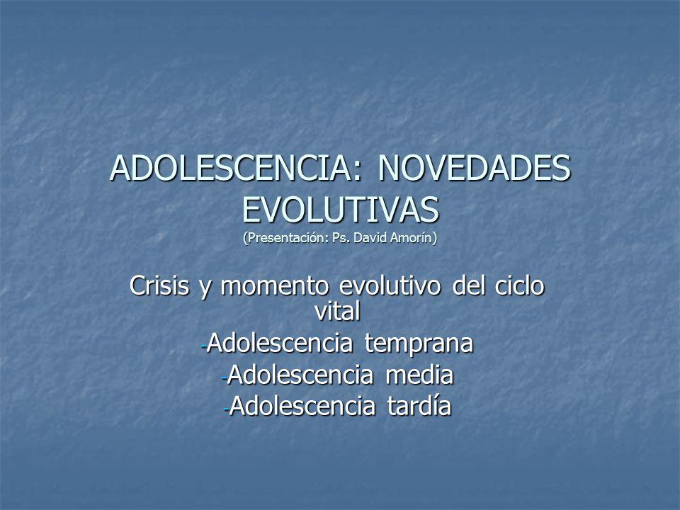 ADOLESCENCIA: NOVEDADES EVOLUTIVAS (Presentación: Ps. David Amorín)