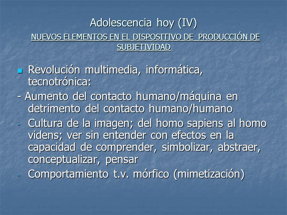 Adolescencia hoy (IV) NUEVOS ELEMENTOS EN EL DISPOSITIVO DE PRODUCCIÓN DE SUBJETIVIDAD