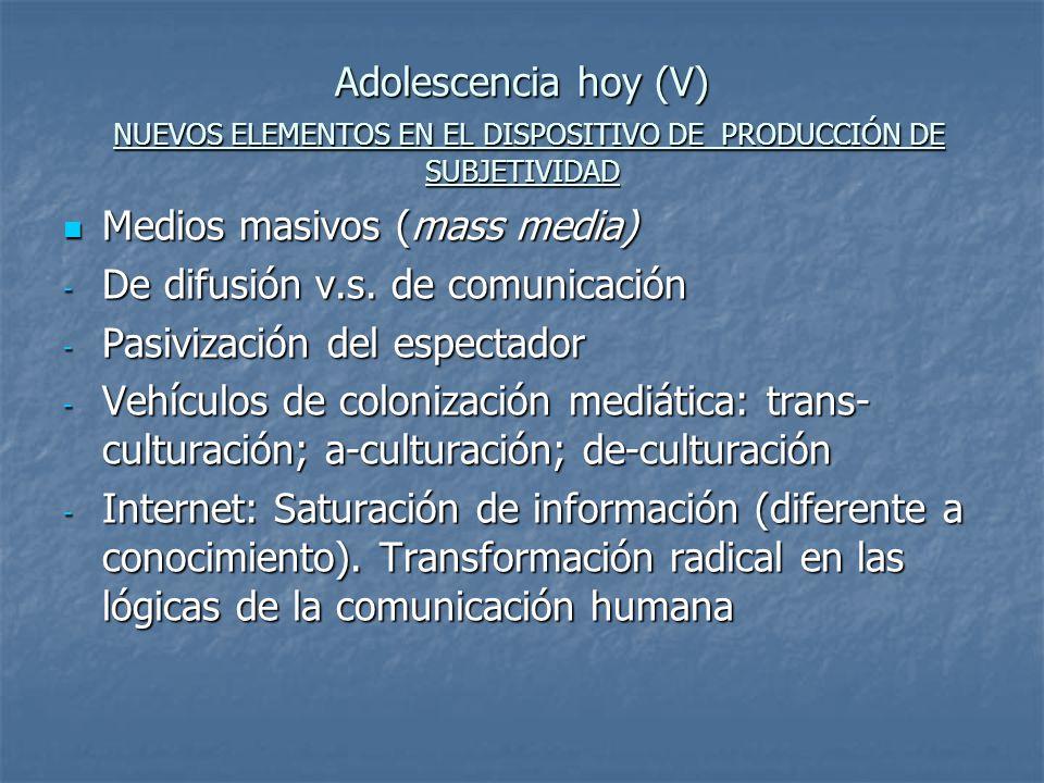 Adolescencia hoy (V) NUEVOS ELEMENTOS EN EL DISPOSITIVO DE PRODUCCIÓN DE SUBJETIVIDAD