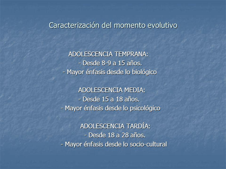 Caracterización del momento evolutivo