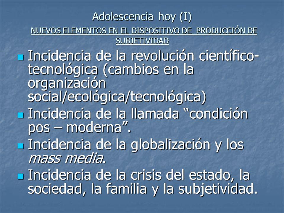 Incidencia de la llamada condición pos – moderna .