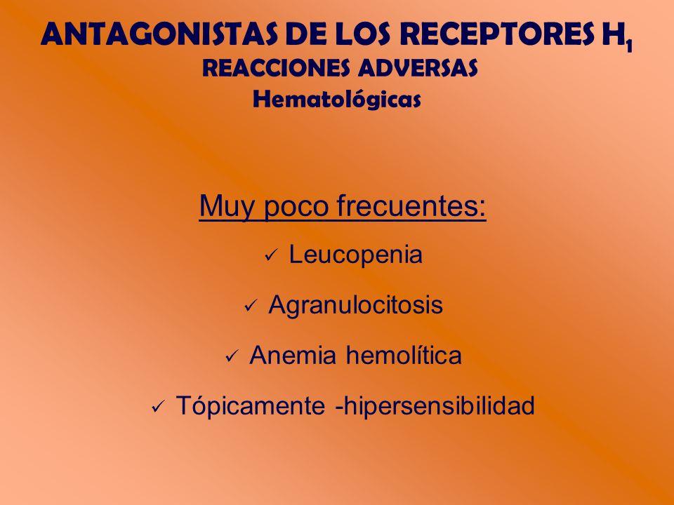 ANTAGONISTAS DE LOS RECEPTORES H1 REACCIONES ADVERSAS