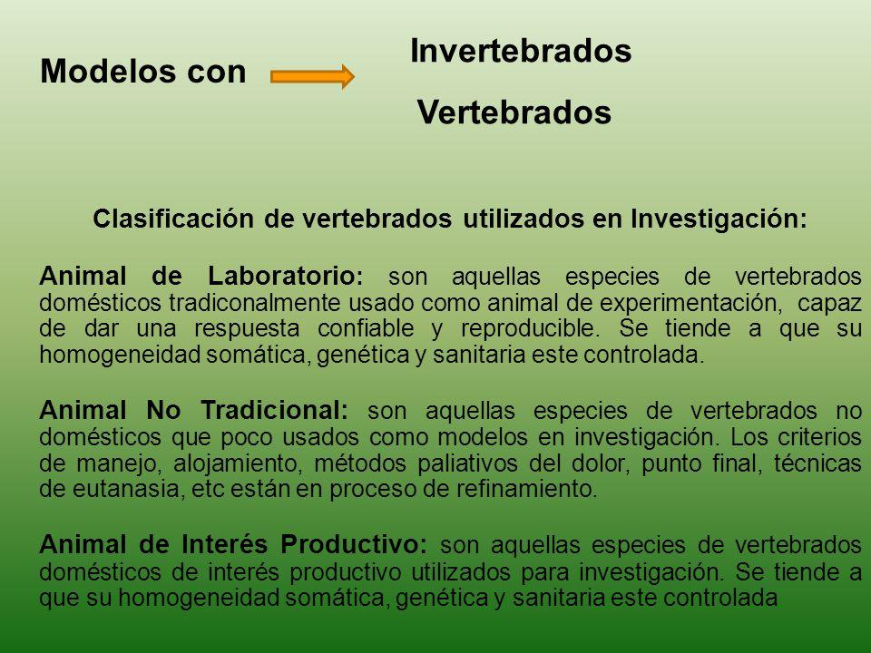 Clasificación de vertebrados utilizados en Investigación: