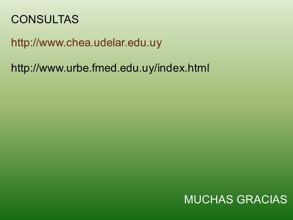 CONSULTAS http://www.chea.udelar.edu.uy http://www.urbe.fmed.edu.uy/index.html MUCHAS GRACIAS